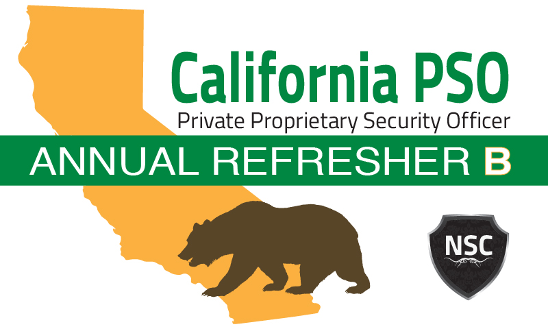 "California PSO Refresher License Training ""B"""